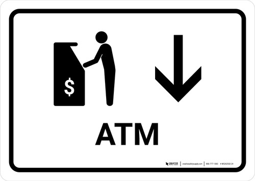 ATM With Down Arrow White Landscape - Wall Sign