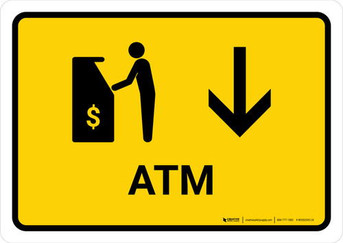 ATM With Down Arrow Yellow Landscape - Wall Sign