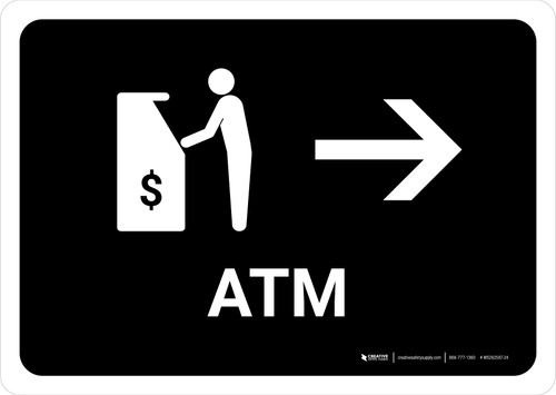ATM With Right Arrow Black Landscape - Wall Sign