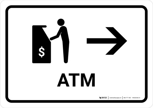 ATM With Right Arrow White Landscape - Wall Sign