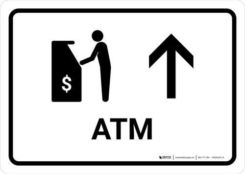 ATM With Up Arrow White Landscape - Wall Sign