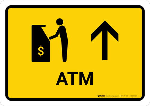 ATM With Up Arrow Yellow Landscape - Wall Sign