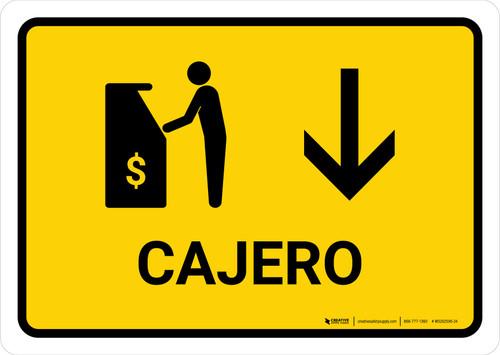 ATM With Down Arrow Yellow Spanish Landscape - Wall Sign