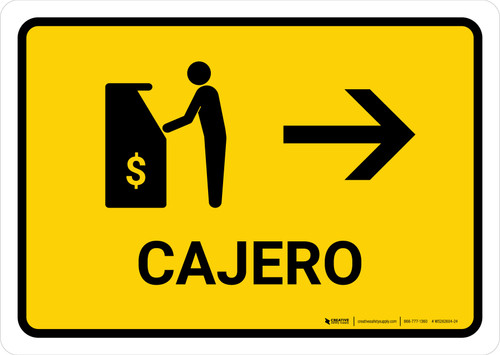 ATM With Right Arrow Yellow Spanish Landscape - Wall Sign