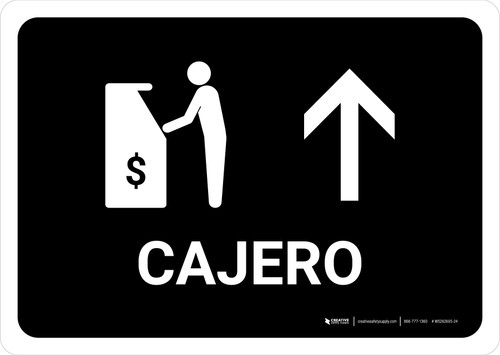 ATM With Up Arrow Black Spanish Landscape - Wall Sign