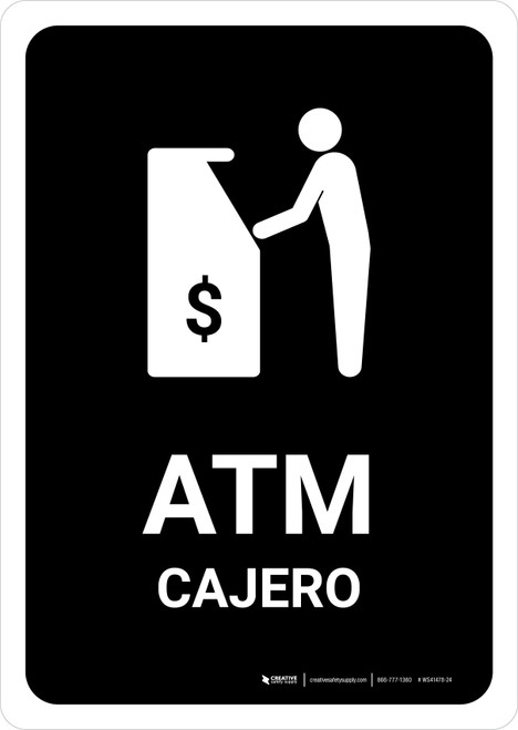 ATM Black Bilingual Portrait - Wall Sign