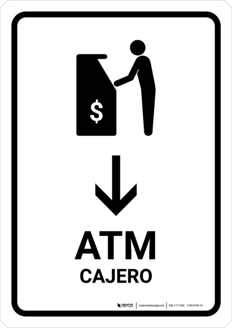 ATM With Down Arrow White Bilingual Portrait - Wall Sign