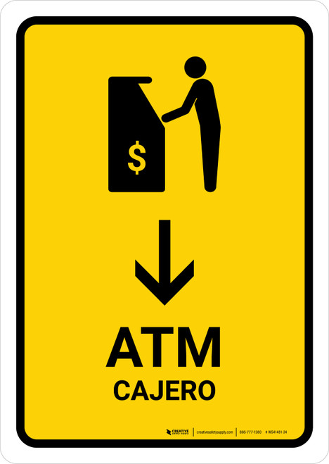 ATM With Down Arrow Yellow Bilingual Portrait - Wall Sign