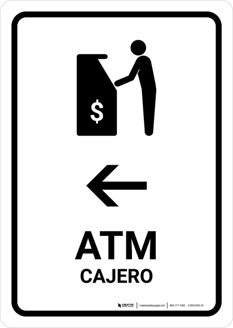 ATM With Left Arrow White Bilingual Portrait - Wall Sign
