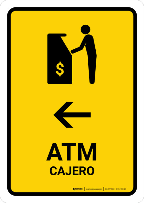 ATM With Left Arrow Yellow Bilingual Portrait - Wall Sign