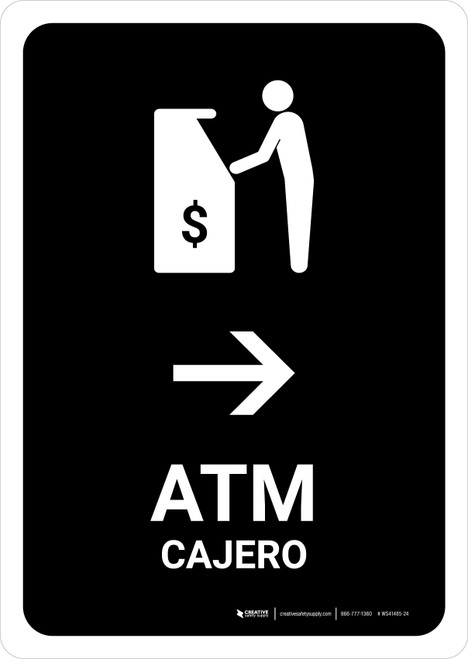 ATM With Right Arrow Black Bilingual Portrait - Wall Sign
