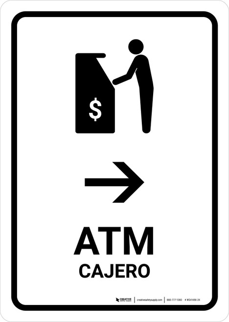 ATM With Right Arrow White Bilingual Portrait - Wall Sign