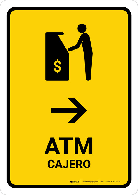 ATM With Right Arrow Yellow Bilingual Portrait - Wall Sign