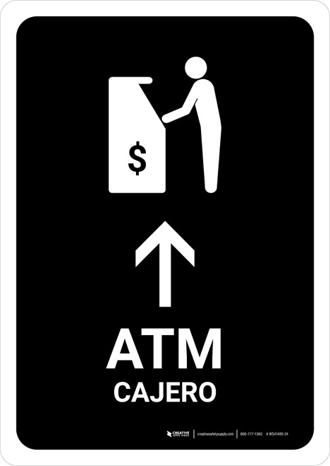 ATM With Up Arrow Black Bilingual Portrait - Wall Sign