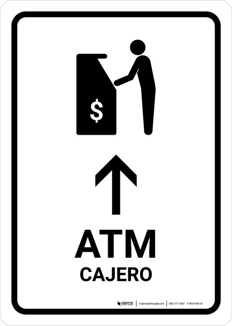 ATM With Up Arrow White Bilingual Portrait - Wall Sign