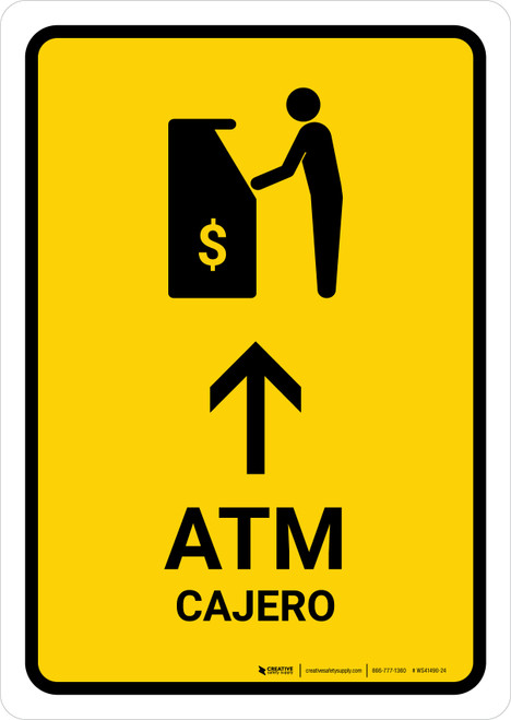 ATM With Up Arrow Yellow Bilingual Portrait - Wall Sign