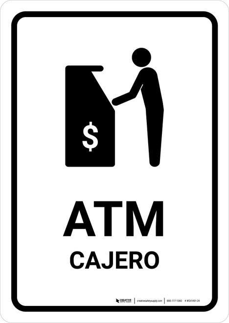 ATM White Bilingual Portrait - Wall Sign