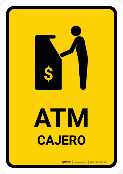 ATM Yellow Bilingual Portrait - Wall Sign