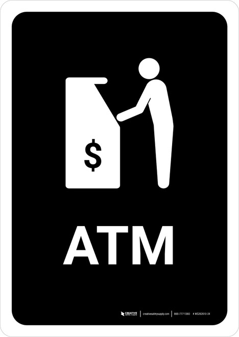 ATM Black Portrait - Wall Sign
