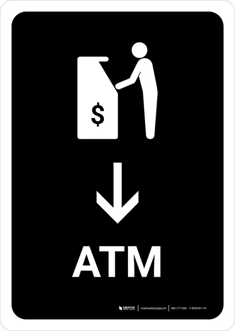 ATM With Down Arrow Black Portrait - Wall Sign