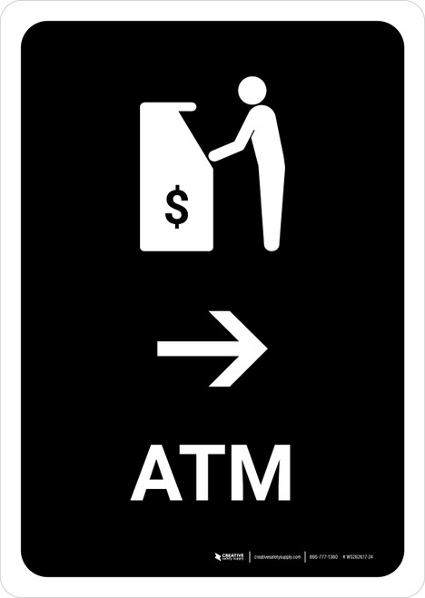 ATM With Right Arrow Black Portrait - Wall Sign