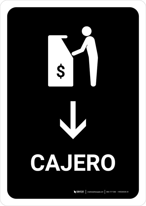 ATM With Down Arrow Black Spanish Portrait - Wall Sign