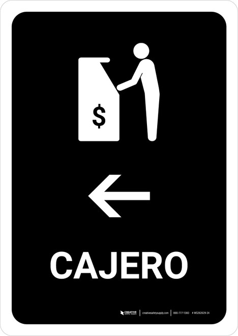 ATM With Left Arrow Black Spanish Portrait - Wall Sign