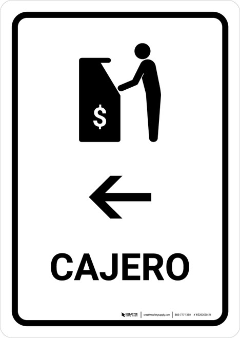ATM With Left Arrow White Spanish Portrait - Wall Sign