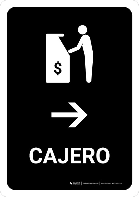 ATM With Right Arrow Black Spanish Portrait - Wall Sign