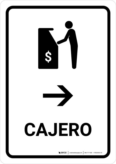 ATM With Right Arrow White Spanish Portrait - Wall Sign