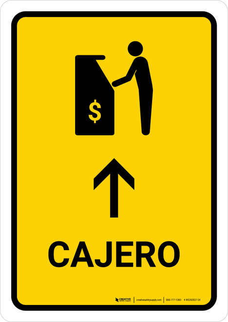 ATM With Up Arrow Yellow Spanish Portrait - Wall Sign