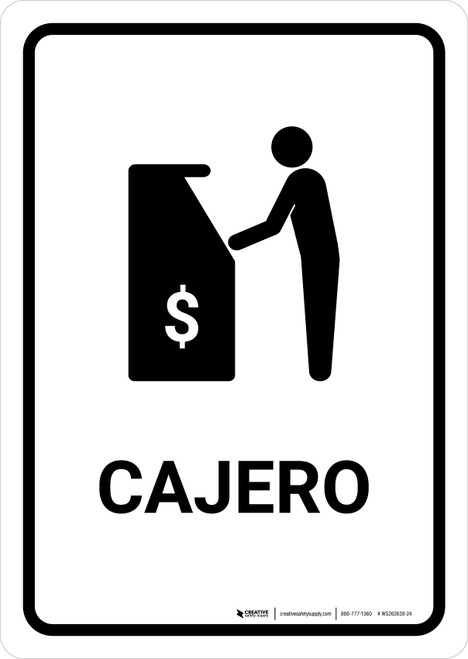 ATM White Spanish Portrait - Wall Sign