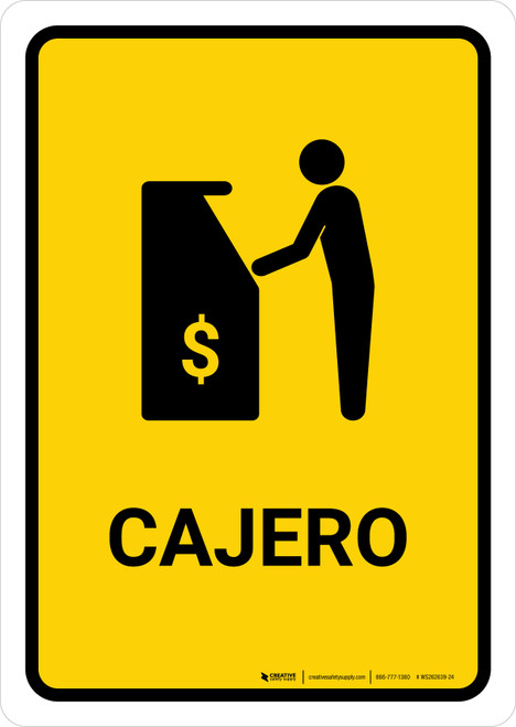 ATM Yellow Spanish Portrait - Wall Sign