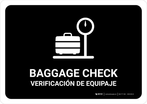 Baggage Check Black Bilingual Landscape - Wall Sign