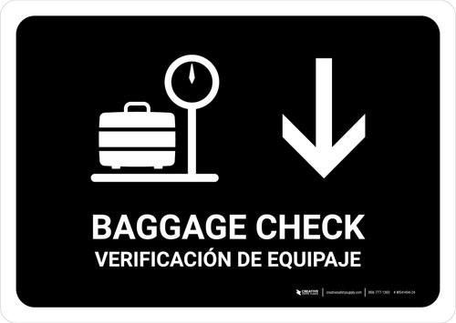 Baggage Check With Down Arrow Black Bilingual Landscape - Wall Sign