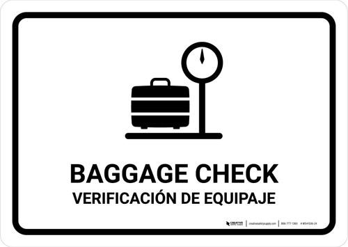 Baggage Check White Bilingual Landscape - Wall Sign