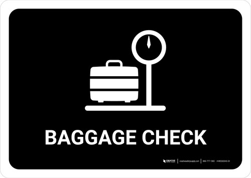 Baggage Check Black Landscape - Wall Sign
