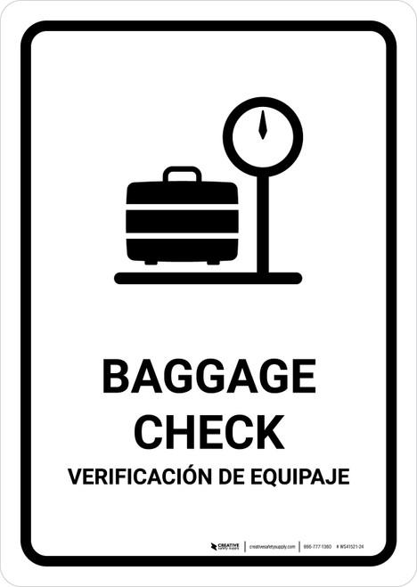 Baggage Check White Bilingual Portrait - Wall Sign