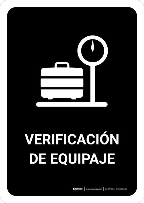 Baggage Check Black Spanish Portrait - Wall Sign
