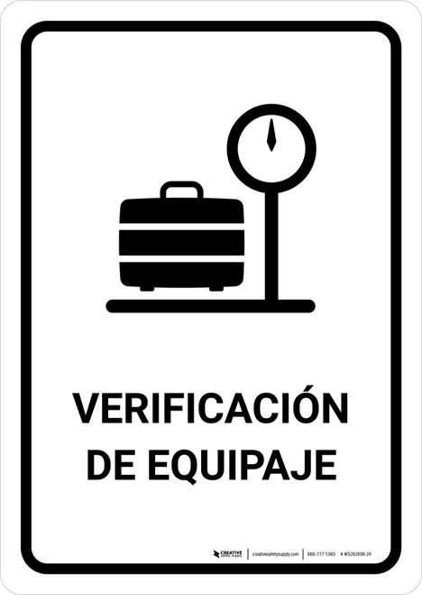 Baggage Check White Spanish Portrait - Wall Sign