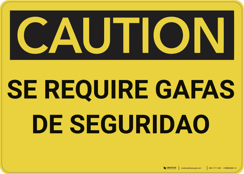 Caution: Caution Safety Glasses Required Spanish - Wall Sign