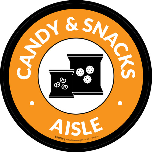 Candy & Snacks Aisle Circle - Floor Sign