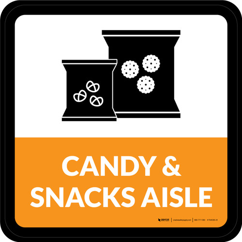 Candy & Snacks Aisle Square - Floor Sign