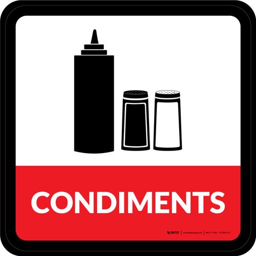 Condiments Square - Floor Sign