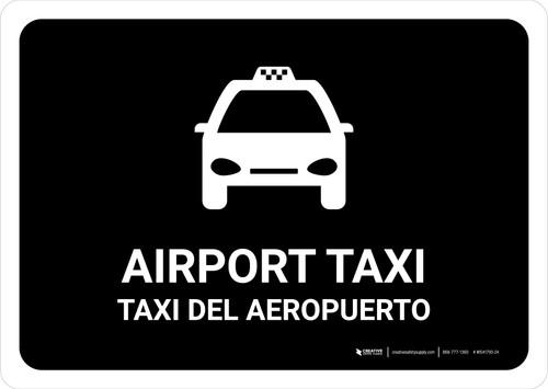 Airport Taxi Black Bilingual Landscape - Wall Sign