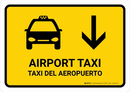 Airport Taxi With Down Arrow Yellow Bilingual Landscape - Wall Sign