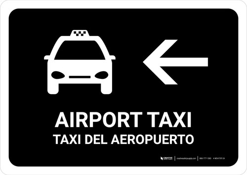 Airport Taxi With Left Arrow Black Bilingual Landscape - Wall Sign