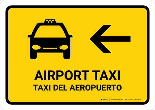 Airport Taxi With Left Arrow Yellow Bilingual Landscape - Wall Sign