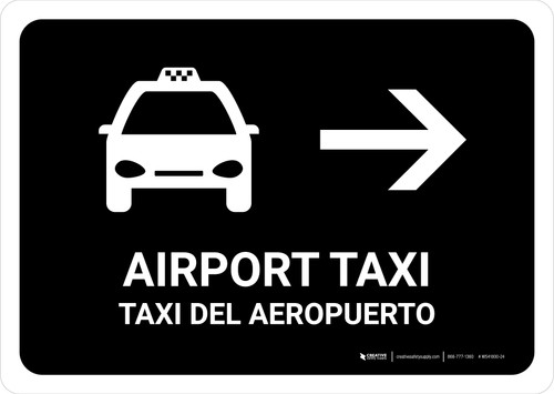 Airport Taxi With Right Arrow Black Bilingual Landscape - Wall Sign