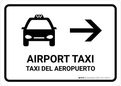 Airport Taxi With Right Arrow White Bilingual Landscape - Wall Sign